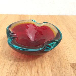 Glasskål rød blå gul