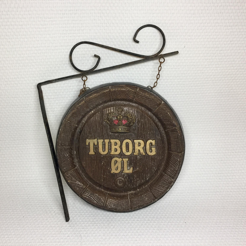 Fabelagtigt Tuborg skilt til ophæng på væg - Intakt med perfekt patina  BV71